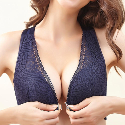 Wireless Front Closure Widen Criss Cross Straps Support Back Lace Bras