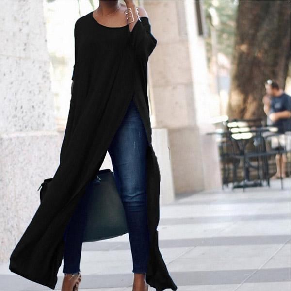 Scoop Neck Side Vented Plain Blouses - Manychic