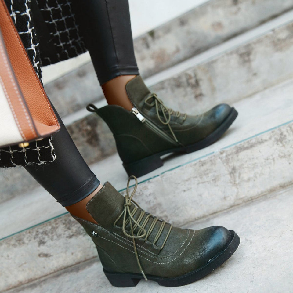 Women Non-Slip Lace-Up Wear Resistant Fashion Ankle Boots
