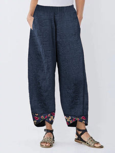 women Irregular Floral Print Patchwork Pants