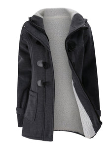Women Horn Button Cotton Fleece Hooded Duffle Coat
