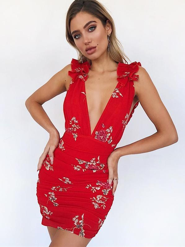Falbala Floral Deep V-neck Bodycon Mini Dress