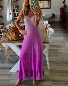 Sleeveless Gradient Beach Holiday Daily Fashion Maxi Dresses