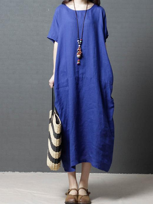 Pure Color Cotton Comfortable Long Dress - Manychic