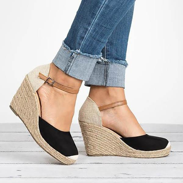Plus Size Wedges Ankle Strap Espadrilles Wedges Sandals
