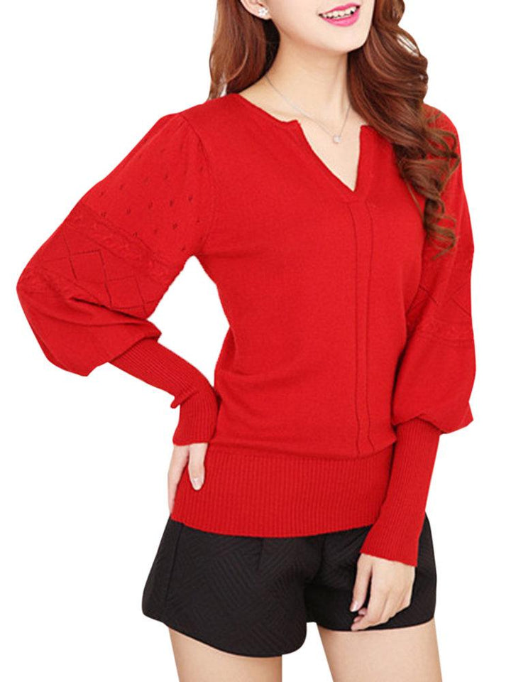 Women V-neck Pure Color Long Sleeve Knitted Sweaters