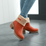 Female Winter Shoes Fur Warm Snow Boots Square Heels Ankle Boots - Manychic