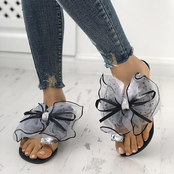 Fashion Bow Deco Rhinestone Slip-On Flats Sandals