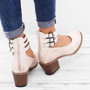 Casual  Brass Buckle Low Heel Sandals Plus Size Back Zipper Sandals