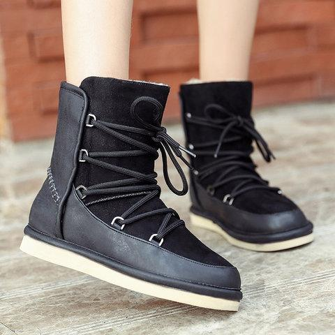 Ladies Fashion Warm Flats Boots Casual Snow Boots Snow Boots - Manychic