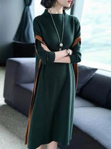 Green Paneled Elegant Stand Collar Knitted Dress