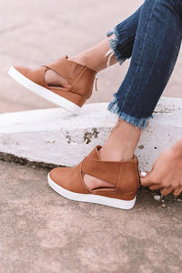 Fashion leather Hollow-out Wedge Heel Sandals