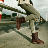 Low Heel Faux Leather Casual Boots