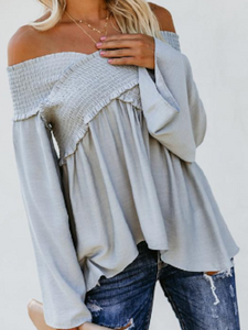 Off Shoulder Plain Bell Sleeve Blouses - Manychic