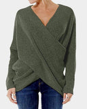 New Women Fashion Cross Front Irregular Hem Sweaters Jumper