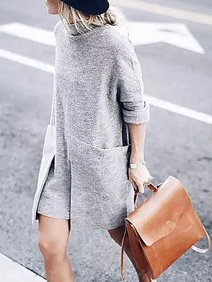 Turtle Neck Gray Women Fall Dress Shift Knitted Solid Dress