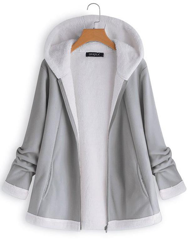 Casual Hooded Zipper Pocket Long Sleeve Fleece Coats For Women