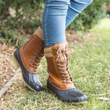 Lace Up Duck Boots Color Block Top knit PU Low Heel Rain Boots