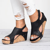 Peep Toe PU Blocking Hook-Loop Wedge Sandals