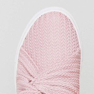 Women Special Knitted Twist Slip On Sneakers