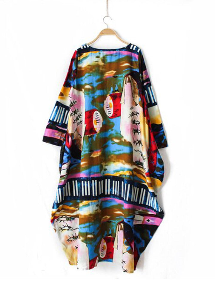 Casual Printed Linen 3/4 Sleeve Abstract Plus Size Dress