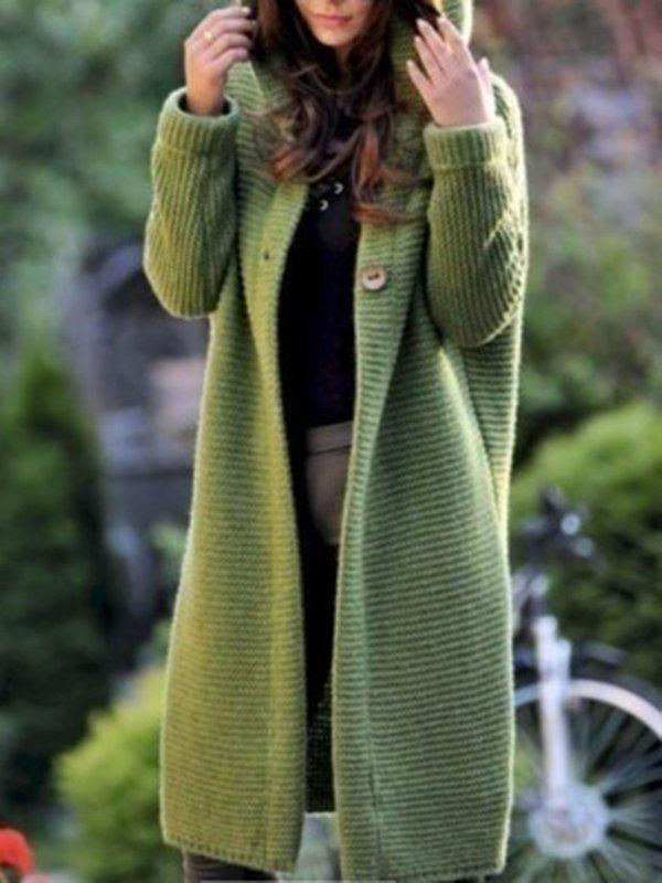 Casual Knitted Long Sleeve Solid Hoodie Coat - Manychic