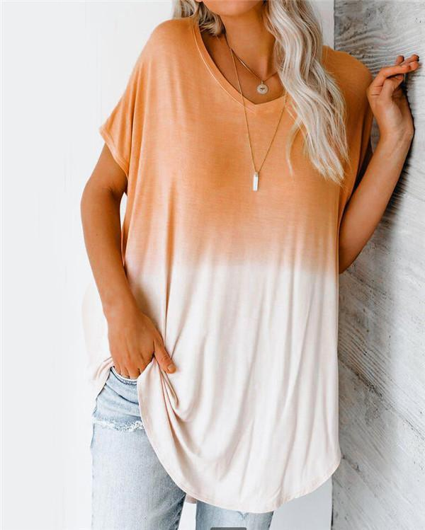 V Neck Gradient Plus Size Summer Women Holiday Blouse