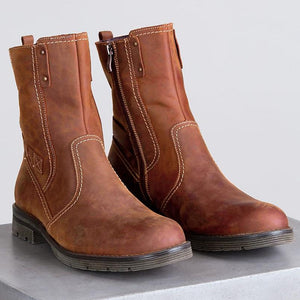 Womens Fashion Wool-Lined Leather Boots