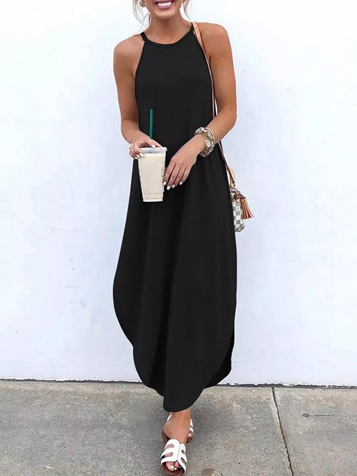 Spaghetti Straps Asymmetric Hem Maxi Dress