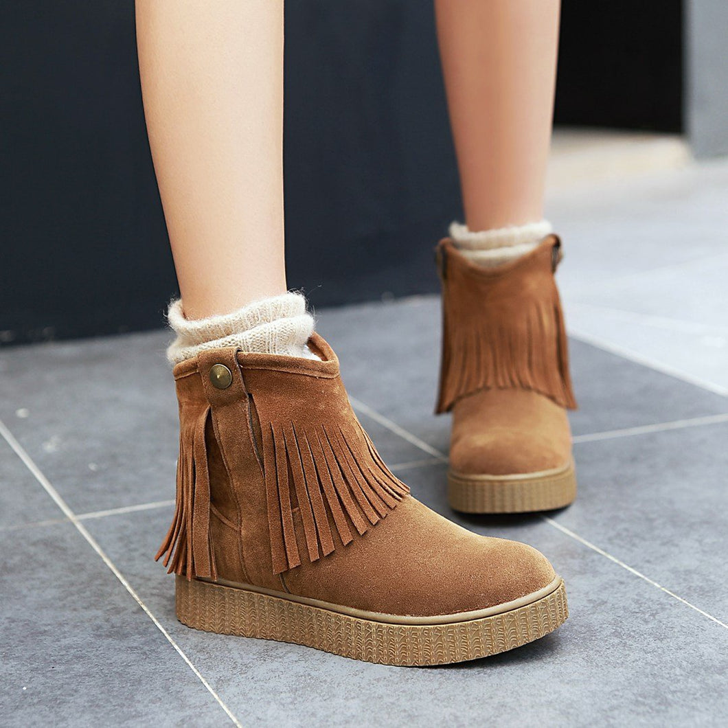 Womens Tassel Flat Winter Snow Boots