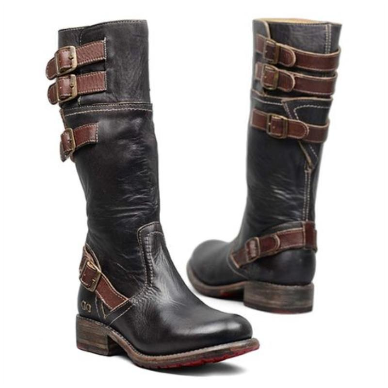 Women's Vintage Zipper Mid-Calf Boots