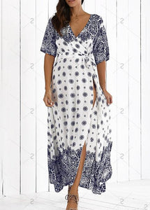 Bohemia Cover Ups Beach Long Sleeve Dress - Manychic