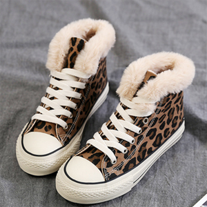 High Leopard Outdoor Cotton Flat Heel Winter Sneaker Boot