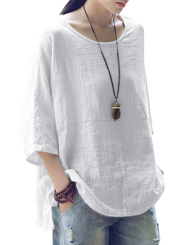 Vintage Loose Pure Color 3/4 Sleeves Women's Shirts - Manychic