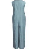 Solid Color Casual Sling Button V Neck Jumpsuit