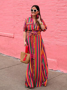 Bohemia Striped Shirt Maxi Dress