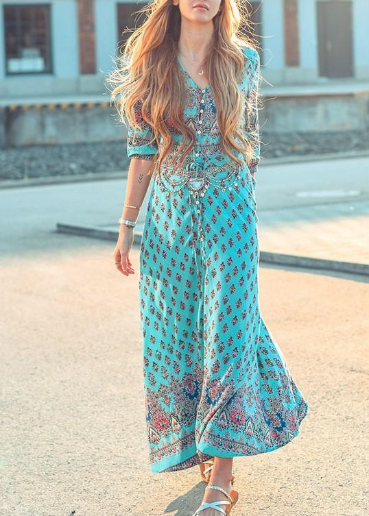 Pretty Chiffon Bohemia Floral 3/4 Sleeve V Neck Maxi Dress - Manychic