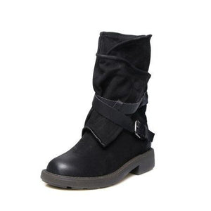 Adjustable Buckle Mid Calf Women Motorcycle Boots - Manychic