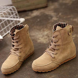 Round Toe Women Ankle Lace-Up Boots Shoes - Manychic