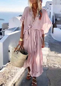 Women V neck Pink Summer Dress A-line Daily Slit Solid Dress