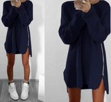 Women Sexy Long Sleeve Sweater Dress Casual Loose Zipper Long Dress
