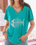 Summer Printed V Neck Plus Size T-Shirt