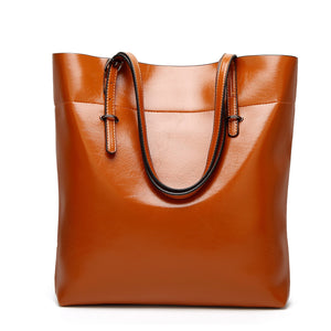 Women Oil Leather Tote Handbags Casual Solid Color Shoulder Bags - Manychic