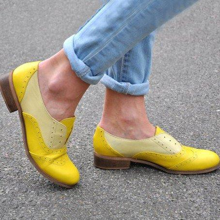 Plus Size Color Block Oxford Shoes Casual PU Slip On Loafers - Manychic