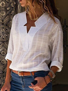 Sexy V Neck Pure Color Long Sleeve Blouses Top Hot Sale - Manychic