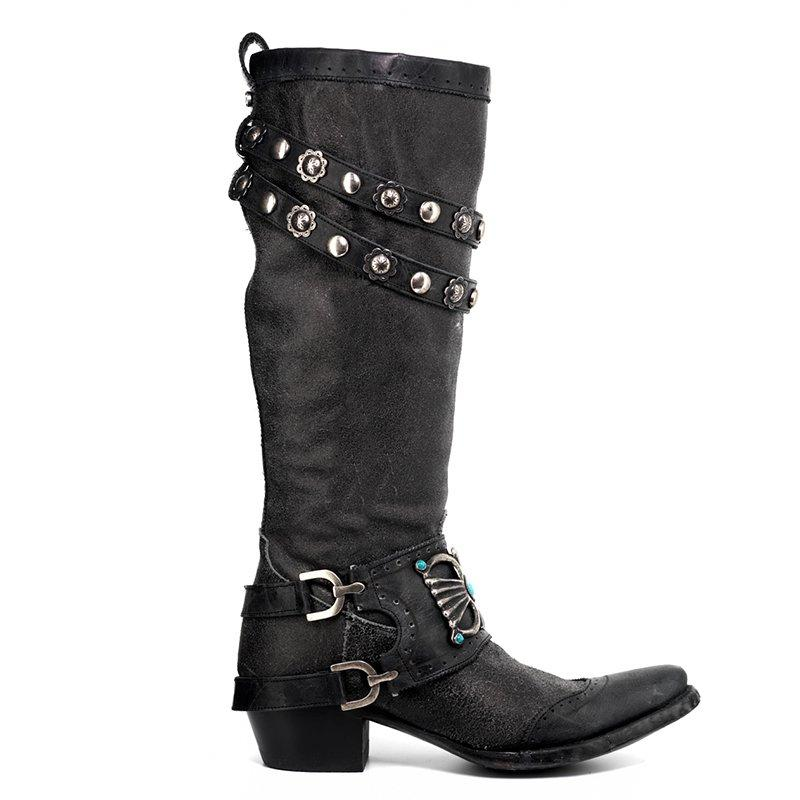 Women's Stylish Knee-High Boots Chunky Block Heel Western Cowboy Slip on Booties