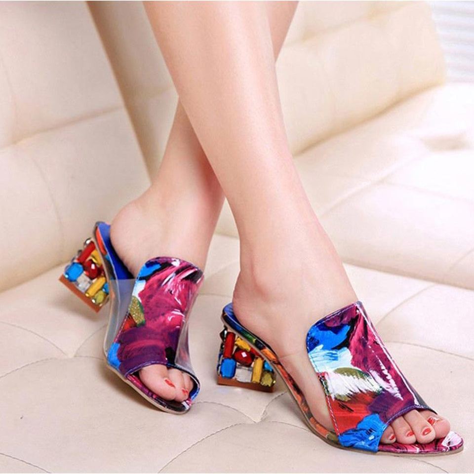 Corachic.com - Large Sizes Colorful Rhinestone Crystals Heels Peep Toe Sandals - Women's Sandals