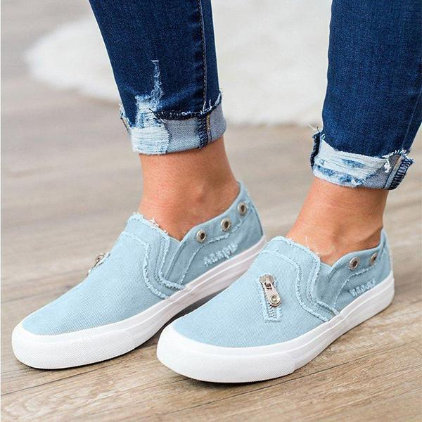 Casual Solid Color Zipper Decoration Canvas Loafers