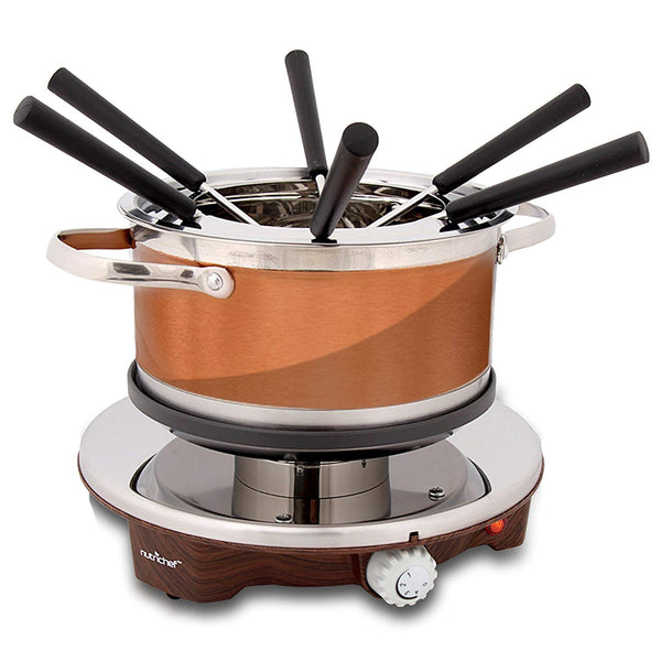 NutriChef PKFNMK25 Electric Melting Pot - Fondue Maker with Dipping Forks, Stainless Steel-Candy & Snacks-NutriChef Kitchen