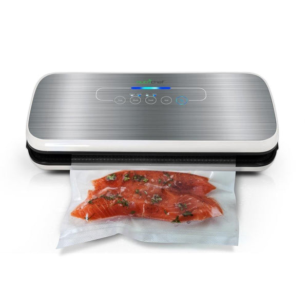 NutriChef Vacuum Sealer | Automatic Vacuum Air Sealing System For Food Preservation w/ Starter Kit | Compact Design | Lab Tested | Dry & Moist Food Modes | Led Indicator Lights (Black)-Vacuum Sealers-NutriChef Kitchen